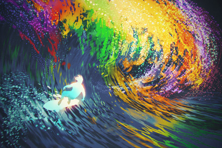 illustration: extreme surfer rides a colorful ocean wave,illustration painting Stock Photo