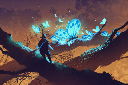 man looking at giant blue butterflies resting on tree branch,illustration painting 스톡 콘텐츠