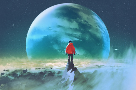 man on top of mountain looking at another planet,illustration painting
