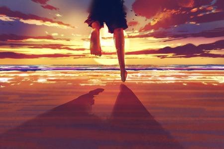 man voeten lopen op het strand bij zonsopgang, illustration painting