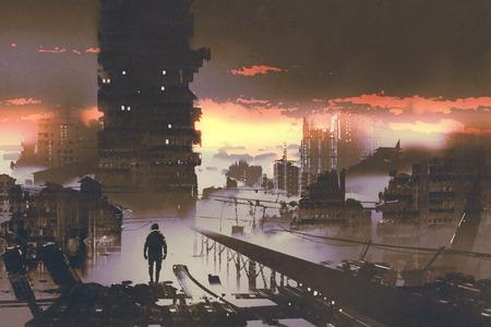 男は放棄された市に立っている空想科学小説概念、絵画の図