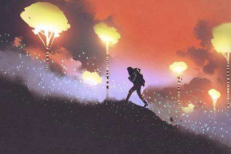 escursionista che viaggiano nella foresta di fantasia in montagna, illustrazione pittura