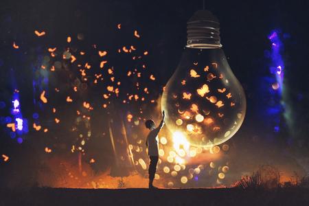 男と大きな電球イラスト絵画中輝く蝶 写真素材