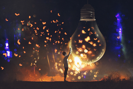 man and big bulb with glowing butterflies inside,illustration painting Stockfoto