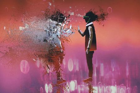 L'uomo con la realtà virtuale commovente auricolare particelle di se stesso, illustrazione pittura