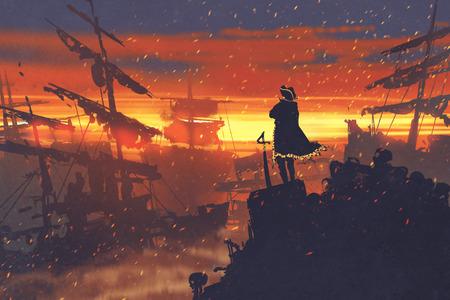 Pirat stehend auf Schatzhaufen gegen zerstörten Schiffe bei Sonnenuntergang, Illustration Malerei Standard-Bild
