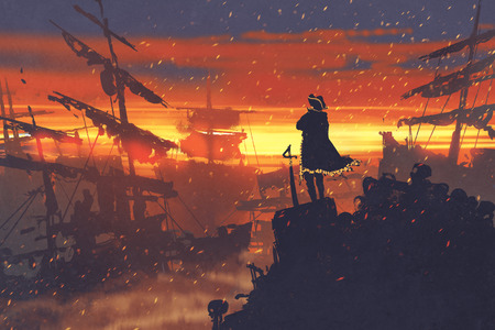 pirate standing on treasure pile against ruined ships at sunset,illustration painting Stock fotó - 69714939