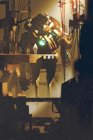 sci-fi scena del robot gigante nella vecchia fabbrica, illustrazione pittura