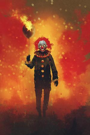 il male pagliaccio in piedi con un pallone sulla sfondo di fuoco, illustrazione pittura