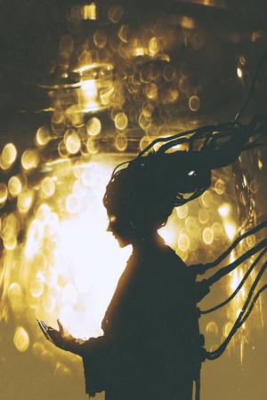 futuristico silhouette femminile robot su sfondo luce dorata, illustrazione pittura Archivio Fotografico