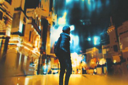 giovane donna in piedi in città di notte, illustrazione pittura Archivio Fotografico