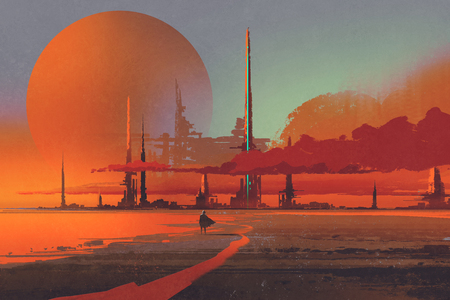 sci-fi contruction in the desert,illustration digital painting