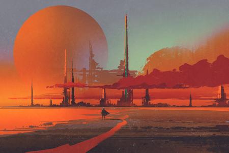砂漠、図デジタル絵画のサイファイのライニング