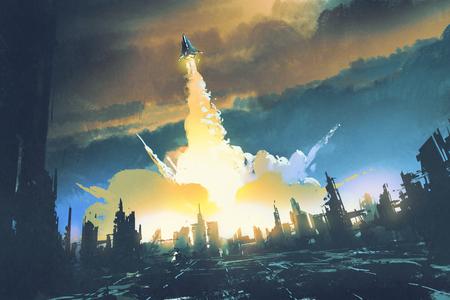 lancio di un razzo decollare da una città abbandonata, il concetto di fantascienza, illustrazione pittura