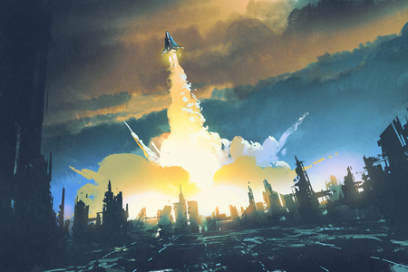 rocket launch take off from an abandoned city,sci-fi concept,illustration painting Stock Photo