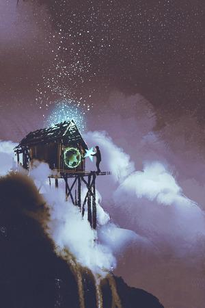 il concetto di fantasia dell'uomo schiacciare la stella con il produttore di Stardust, illustrazione pittura