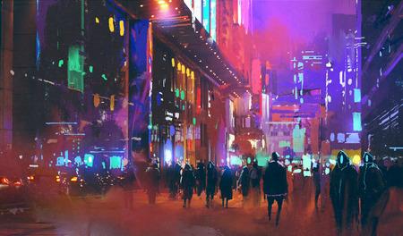 mensen die in de sci-fi stad 's nachts wandelen met kleurrijk licht, illustratie schilderij
