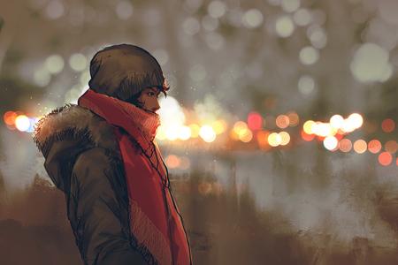 光絵画の図の背景のボケ味を持つ冬の若い男の屋外のポートレート