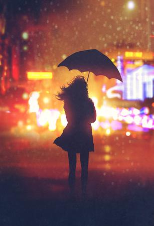 donna sola con l'ombrello in città di notte, illustrazione pittura