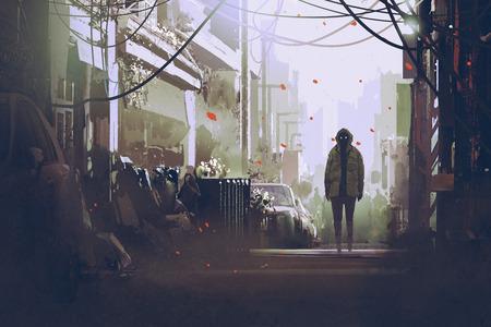 misterioso uomo in piedi sulla strada, illustrazione pittura