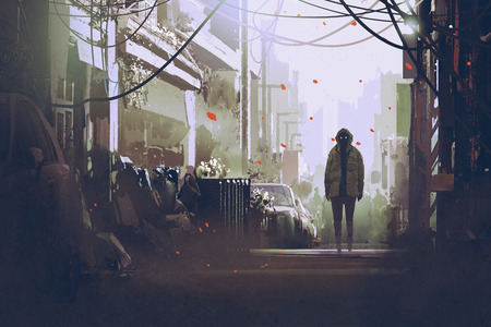 mysterious: mysterious man standing on street,illustration painting
