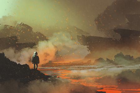 화산 풍경, 그림 그림으로 버려진 된 행성에 서있는 우주 비행사 스톡 콘텐츠