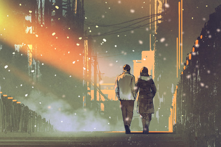couple in love walking on street of city,illustration painting