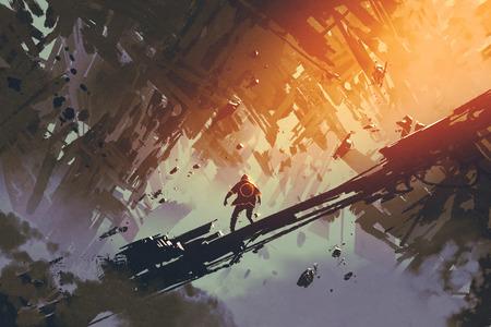 uomo in piedi in astratto architettura della città, illustrazione pittura