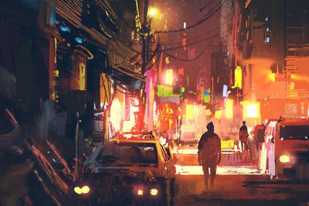 vecchia strada nella città futuristica di notte con la luce colorata, concetto di fantascienza, illustrazione pittura