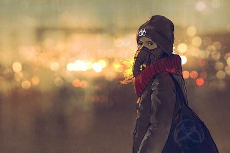 outdoor portret van de jonge vrouw met een gasmasker in de winter met bokeh licht op de achtergrond, illustratie schilderij