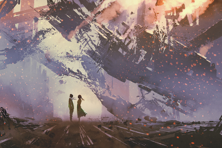 destroyed: man and woman standing against collapsing buildings city,illustration painting