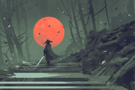Samurai staande op de trap in de nacht bos met de rode maan op de achtergrond, illustratie schilderij Stockfoto