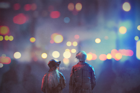 back view of couple in love walking on street of city at night,illustration painting Фото со стока