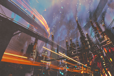 futuristic city: sci-fi scenery of futuristic city with industrial buildings,illustration painting