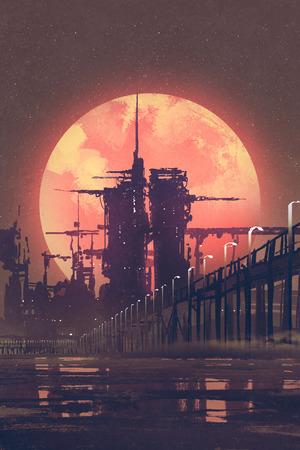 scenario serale della città futuristica con il pianeta rosso su sfondo, illustrazione pittura