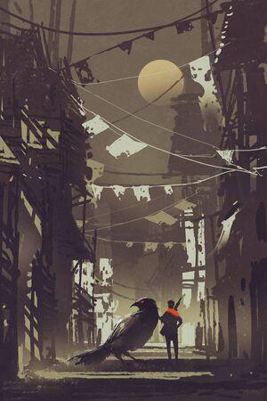 il viaggiatore con il suo corvo nella città abbandonata di notte, illustrazione pittura