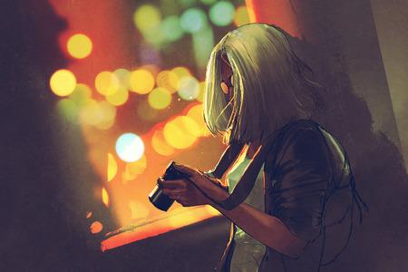 giovane donna dai capelli grigi con una macchina fotografica vicino alla finestra sulla città di notte, illustrazione pittura Archivio Fotografico