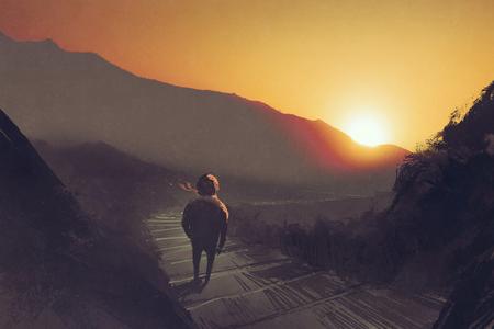 man die op de berg route stairs te kijken naar de zonsondergang, illustratie painting