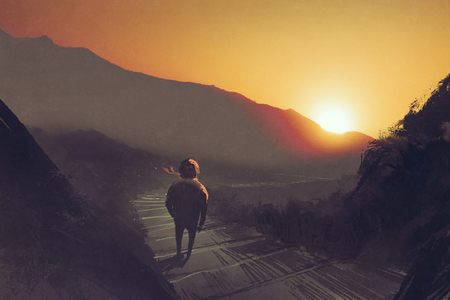 man standing on mountain pathway stairs looking at the sunset,illustration painting 版權商用圖片