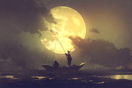 silhouette di pescatori con canna da pesca sulla barca e grande luna sullo sfondo, illustrazione pittura