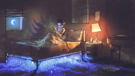 boy reading tablet in bedroom and something under the bed,illustration painting
