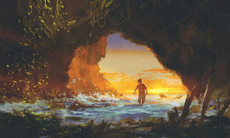 the man walking in the sea cave at sunset,illustration painting Stock Photo