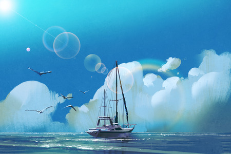 the sailboat in the sea against summer sky with big clouds,illustration painting Stock Photo