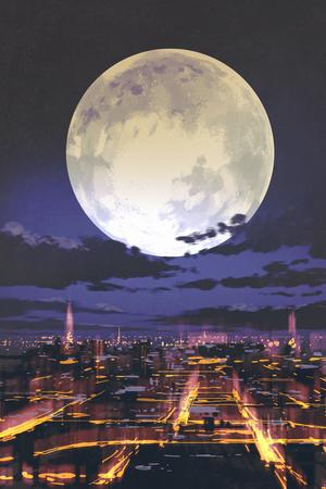 scenario serale di luna piena sopra skyline della città di notte con la luce colorata, illustrazione pittura