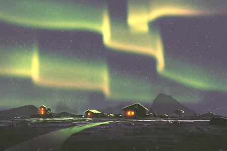 phenomenon: night scenery of village under the Northern lights Aurora borealis ,illustration painting