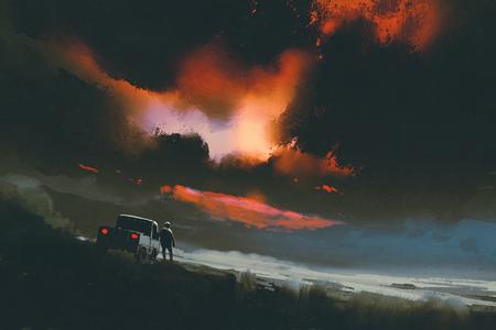 夜の空、絵画の図で赤い光を見て彼のトラックで立っている男性
