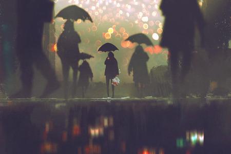 man met bloemen boeket bedrijf paraplu alleen te staan in een menigte van mensen die de straat op een regenachtige nacht, illustratie painting