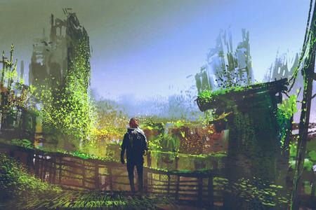 man standing on old bridge in overgrown city,illustration painting