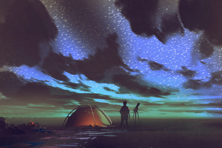 man with telescope standing by tent looking at the sky at night,illustration painting Stockfoto