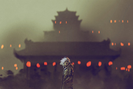 young man standing against ancient temple with red lights,illustration painting Stock Photo